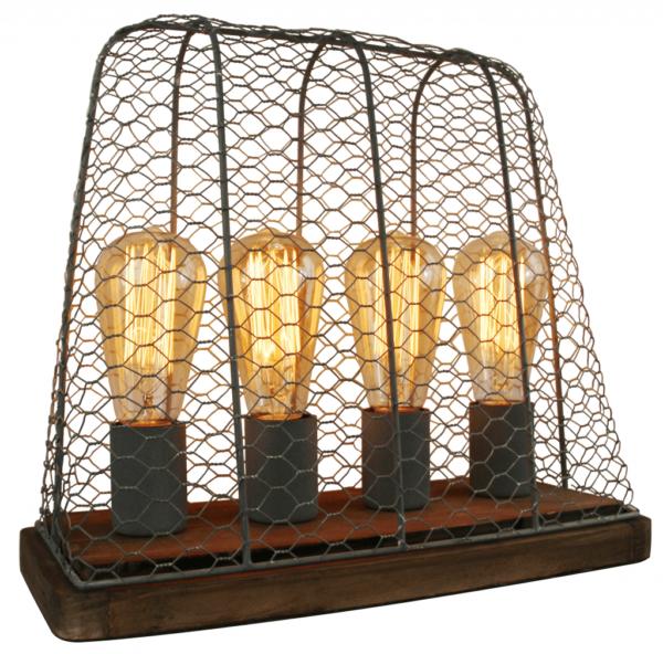 Nero tafellamp - 1 lichts - 11 cm - zwart met glas
