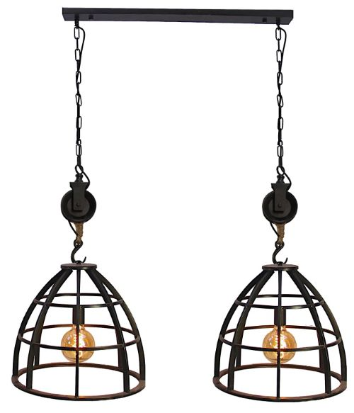 Venezia Uno hanglamp zwart metaal - glas