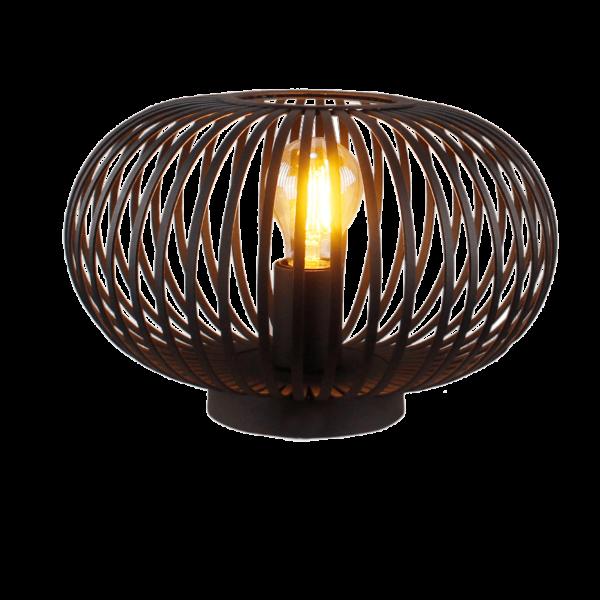 Sylvie spot - 2 lichts - zwart black steel met vintage hout en smoke rookglas