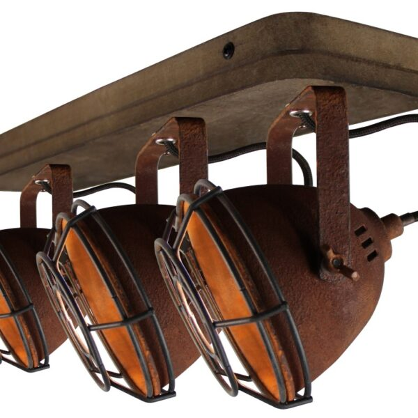 Bella spot - 3 lichts - roest met vintage hout