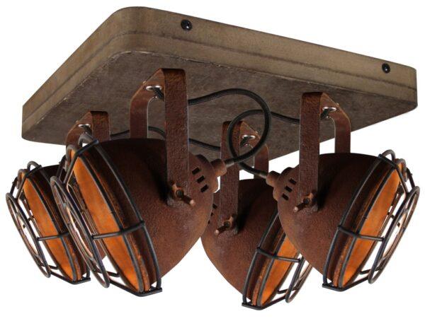 Bella spot - 4 lichts - roest met vintage hout