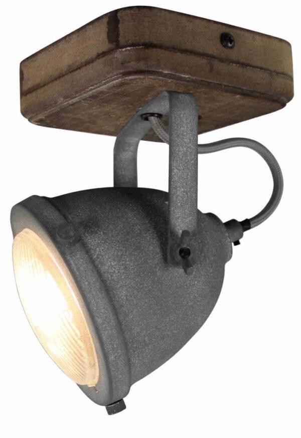 Bella spot - 1 lichts - grijs beton met vintage hout