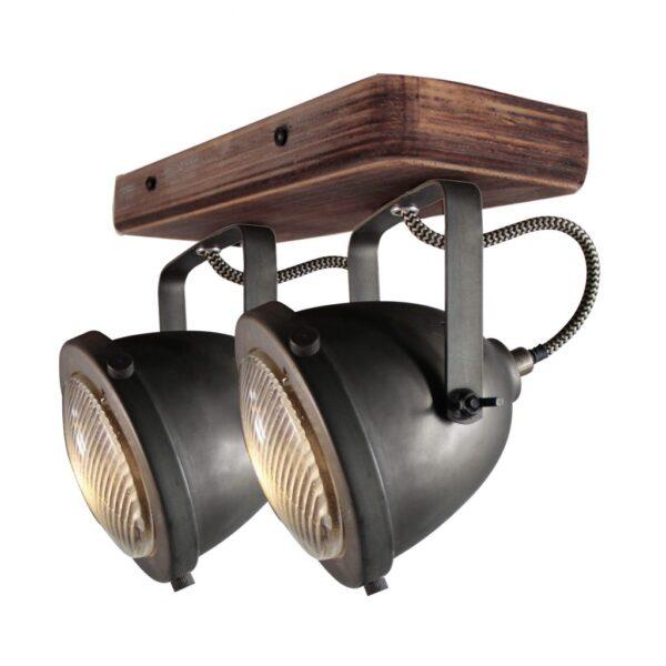 Bella spot - 2 lichts - zwart black steel met vintage hout
