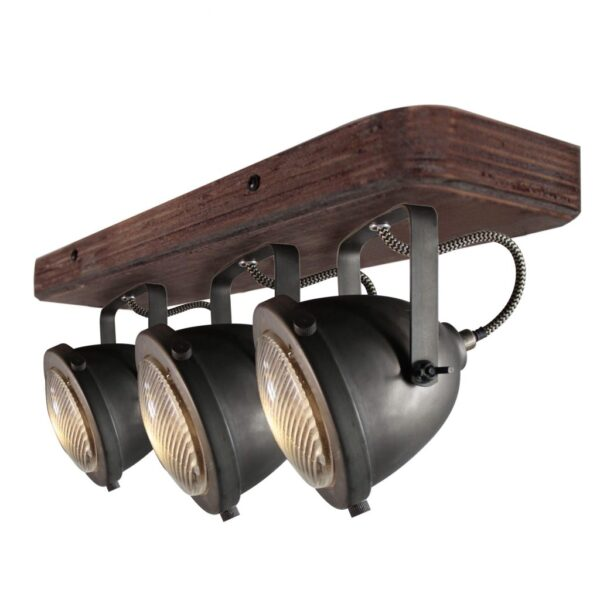 Bella spot - 3 lichts - zwart black steel met vintage hout
