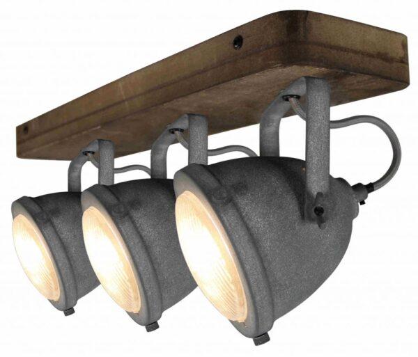 Bella spot - 3 lichts - grijs beton met vintage hout