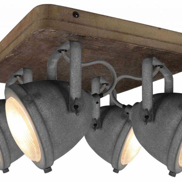 Bella spot - 4 lichts - grijs beton met vintage hout