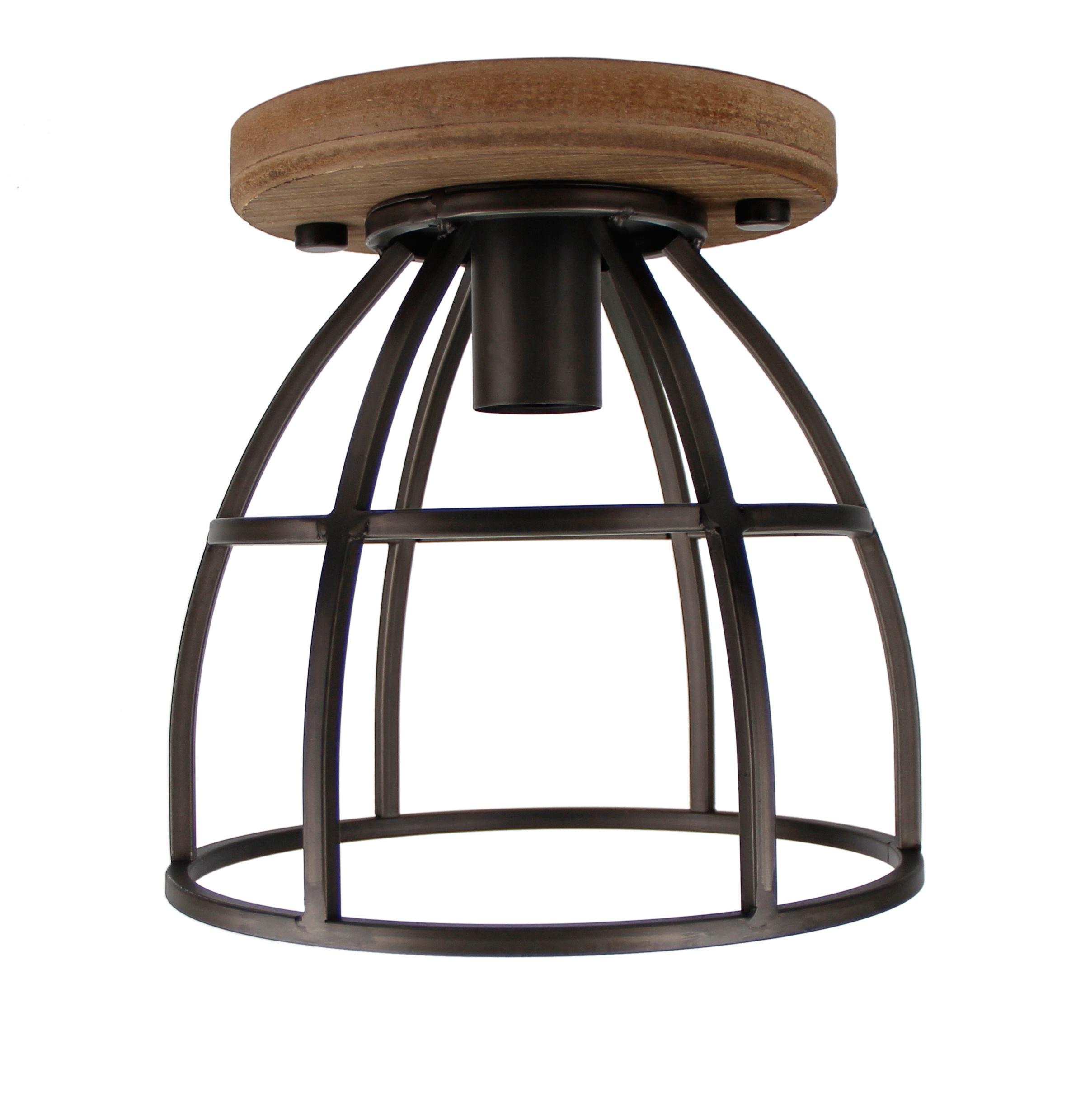 Aperto plafondlamp - 1 lichts - 25 cm - zwart black steel met vintage wood