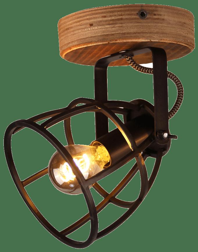Aperto spot - 1 lichts - zwart black steel met vintage wood