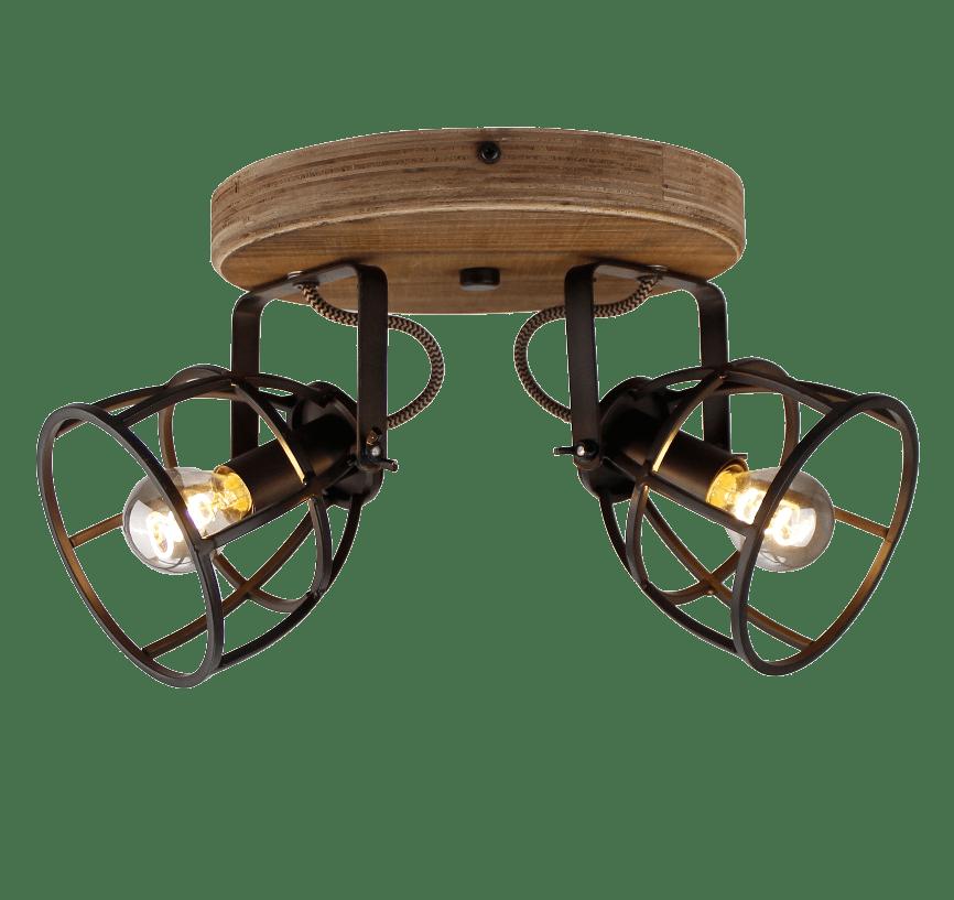 Aperto spot - 2 lichts - zwart black steel met vintage wood