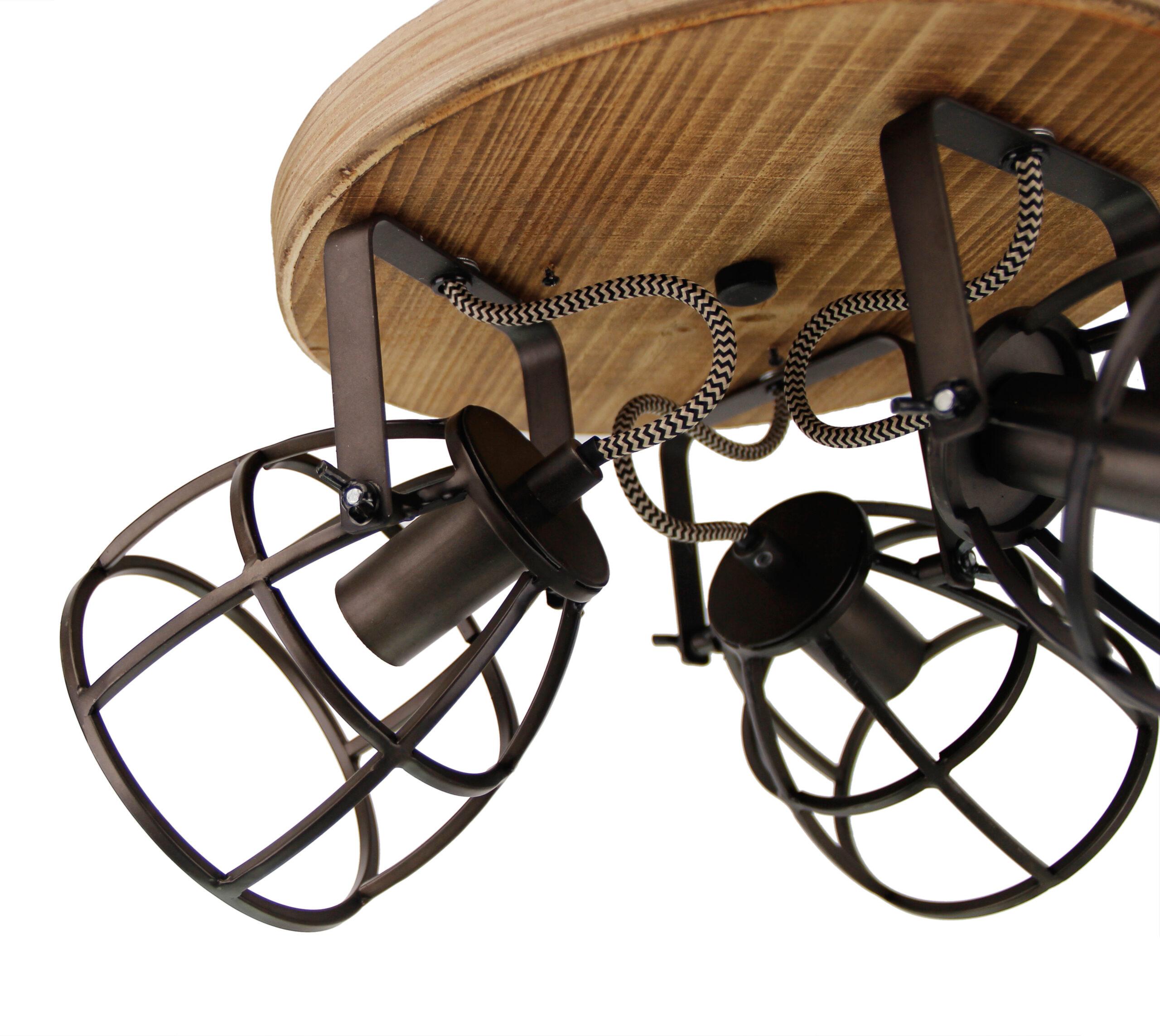 Aperto spot - 3 lichts - zwart black steel met vintage wood