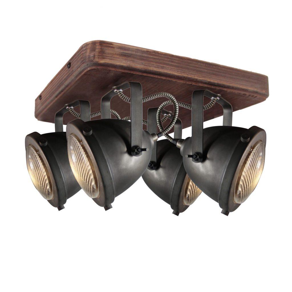 Bella spot - 4 lichts - zwart black steel met vintage hout