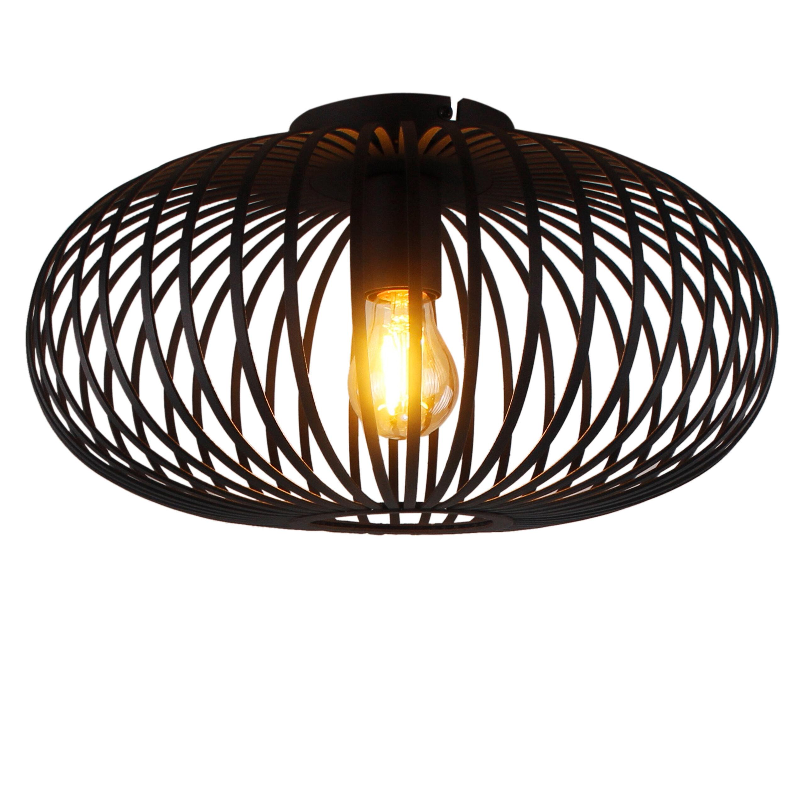 Curvato plafondlamp - 1 lichts - 40 cm - zwart corrund black