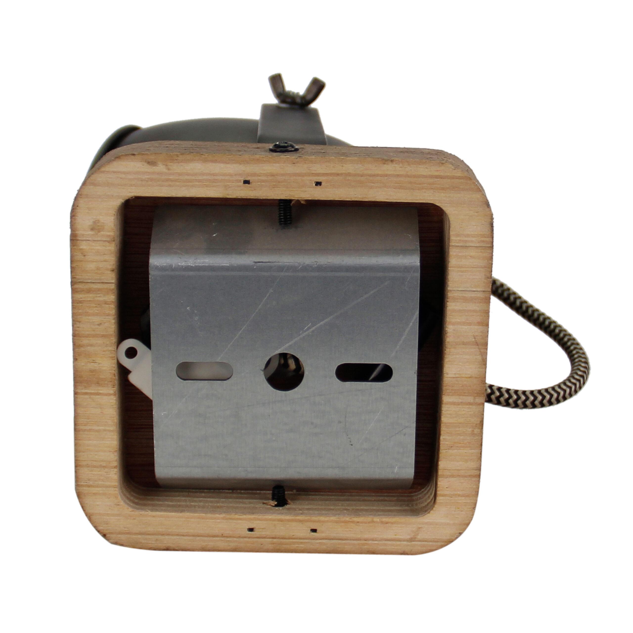 Dolce spot - 1 lichts - zwart black steel met vintage hout
