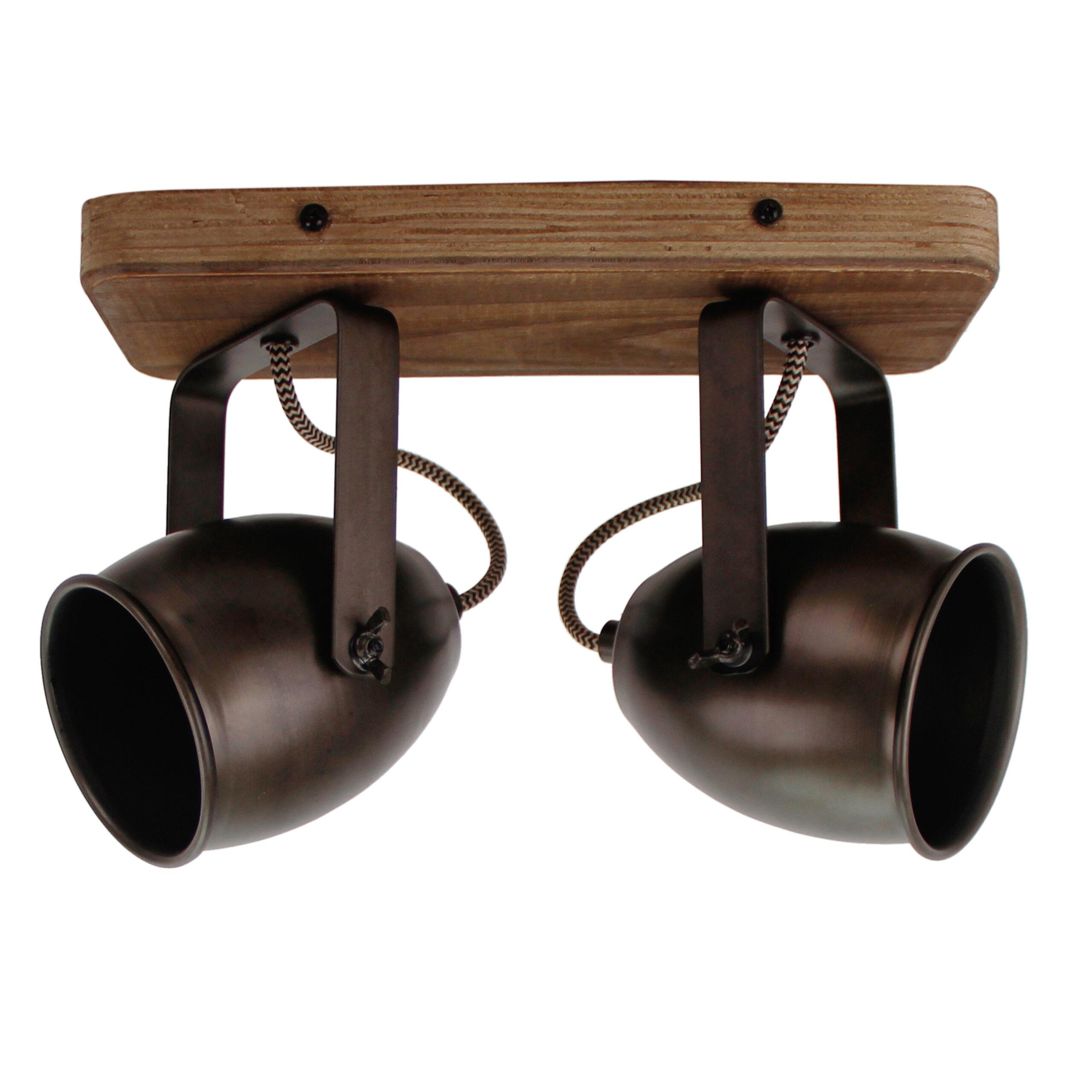 Dolce spot - 2 lichts - zwart black steel met vintage hout