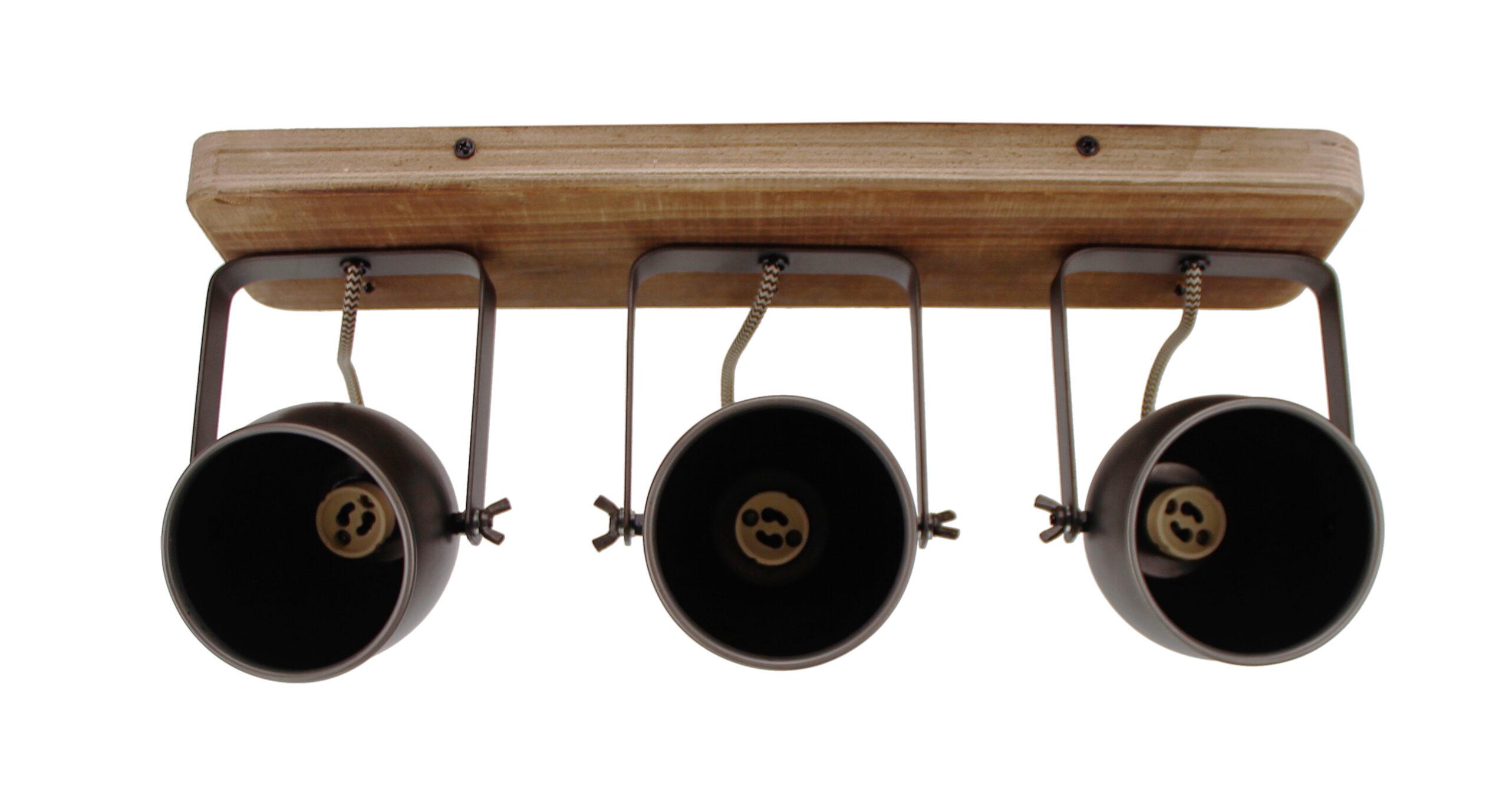 Dolce spot - 3 lichts - zwart black steel met vintage hout