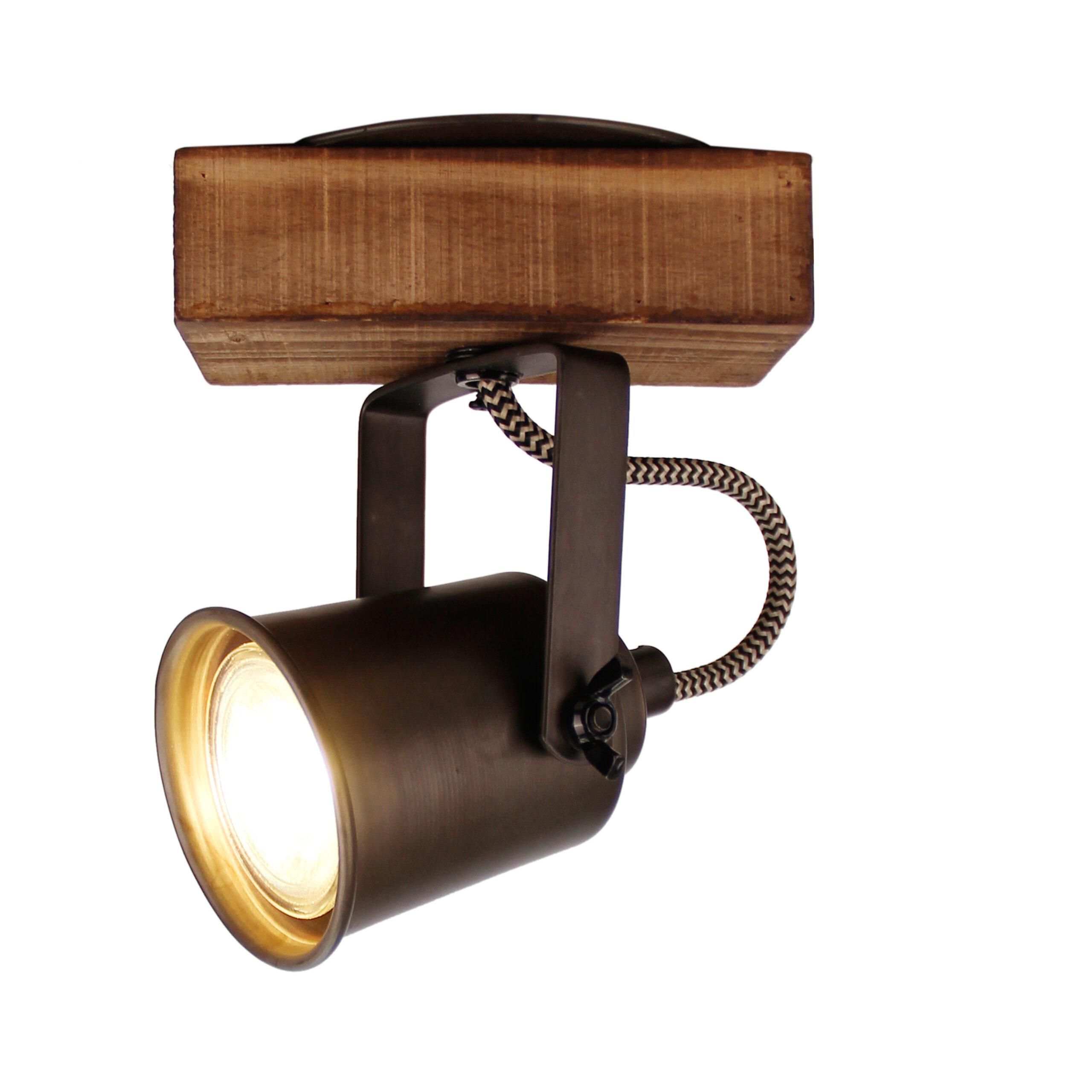 Tazza spot - 1 lichts - zwart black steel met vintage hout