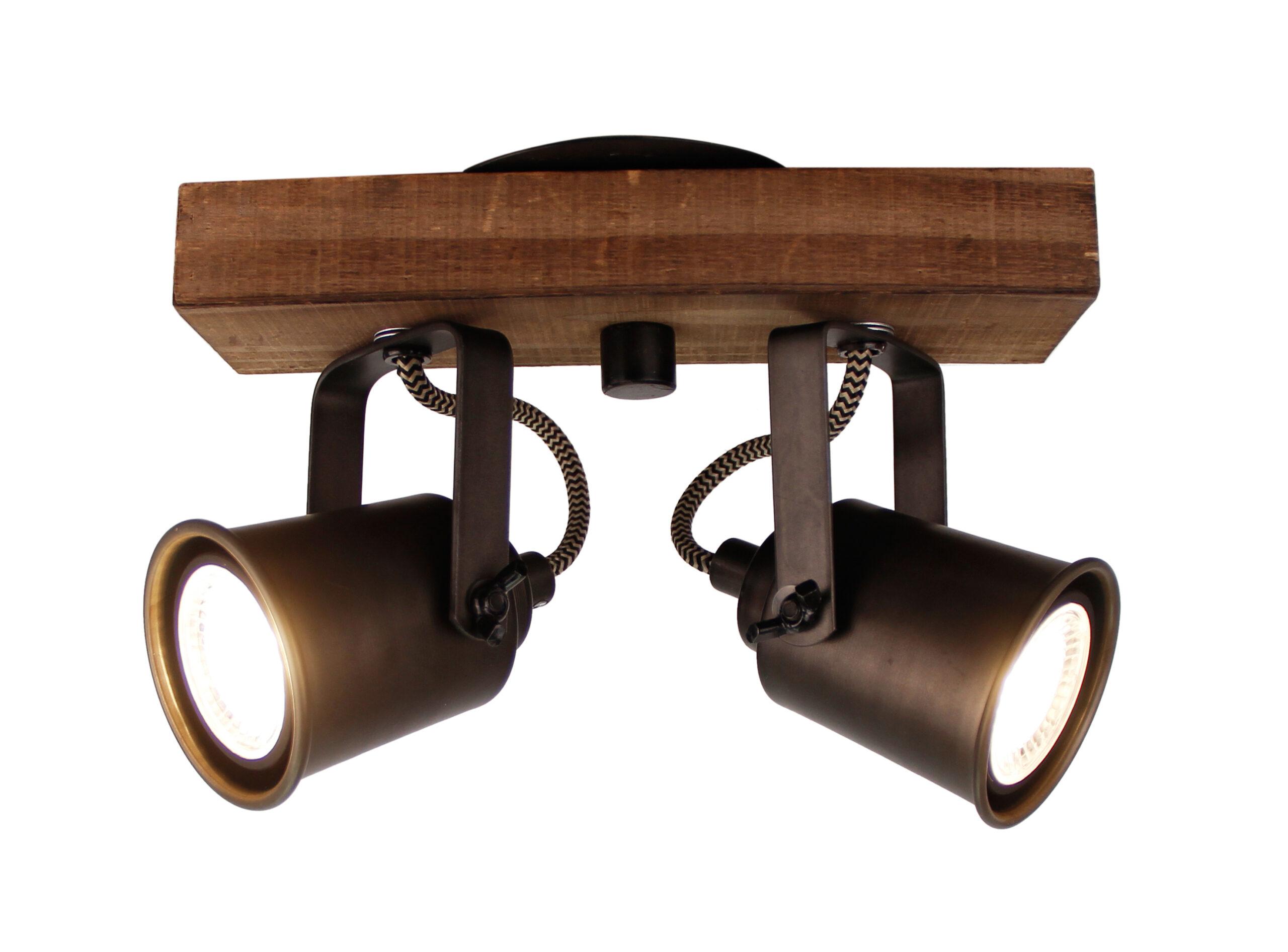 Tazza spot - 2 lichts - zwart black steel met vintage hout