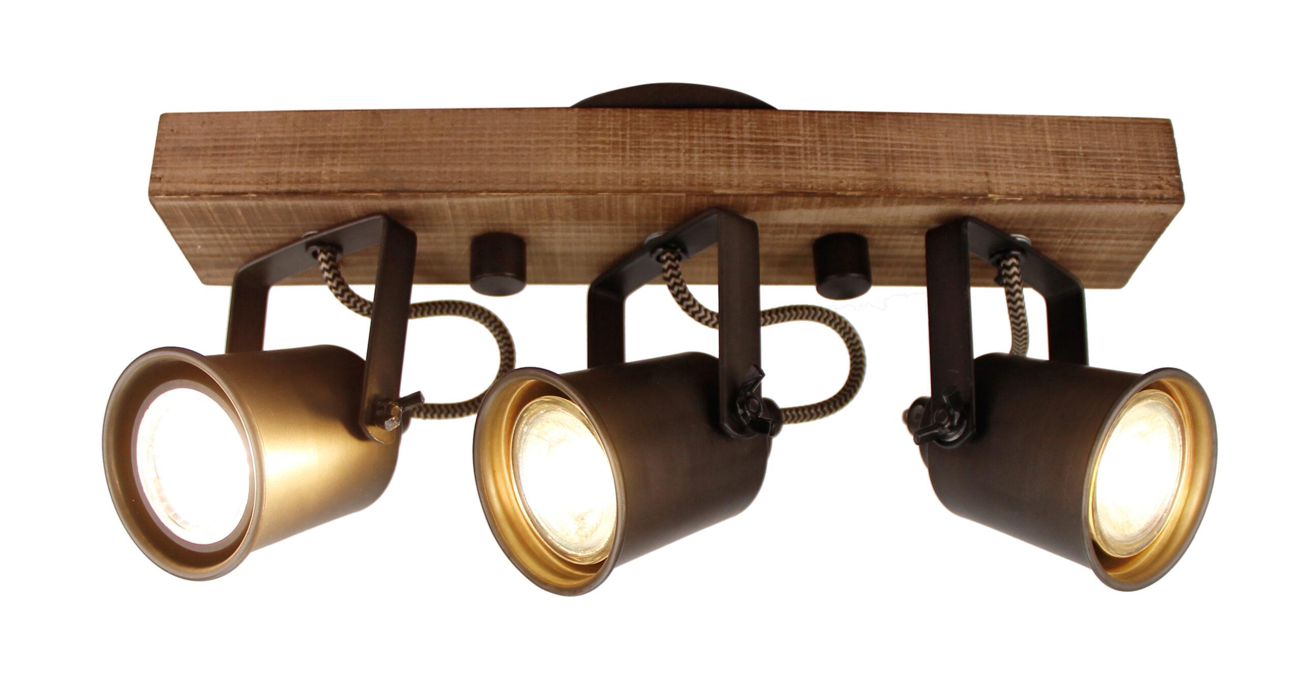 Tazza spot - 3 lichts - zwart black steel met vintage hout