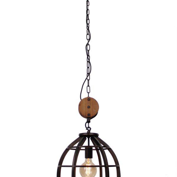 Aperto hanglamp - 1 lichts - 34 cm - zwart black steel met vintage wood