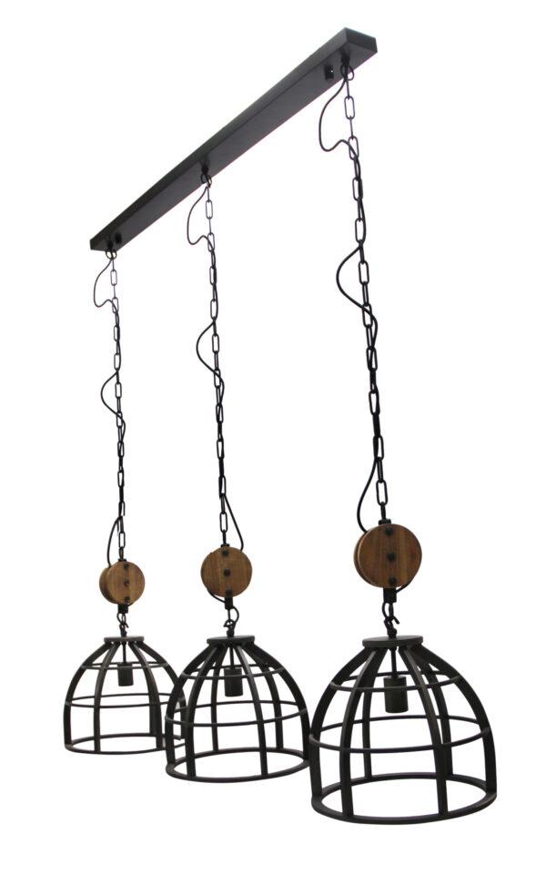 Aperto hanglamp - 3 lichts - 34 cm - zwart black steel met vintage wood