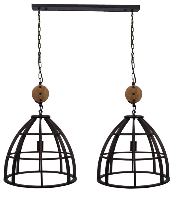 Aperto hanglamp - 2 lichts - 47 cm - zwart black steel met vintage wood