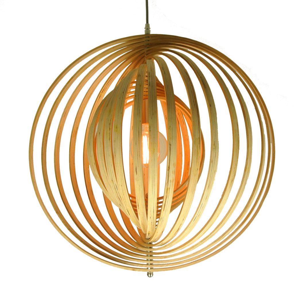 Ring hanglamp - hout - 60 cm.