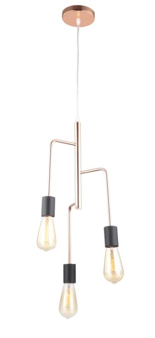 Anni Retro hanglamp - koper - zwart - 3 lichts