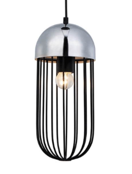 Gaby Bullet Chroom hanglamp chroom - zwart