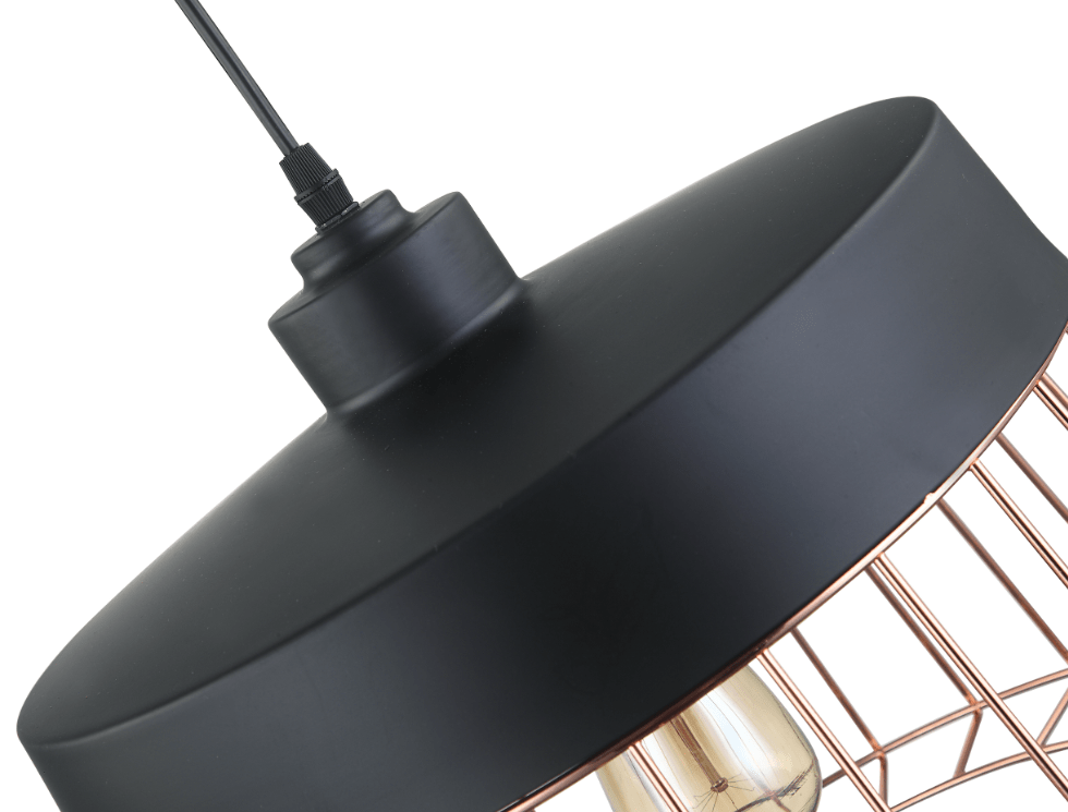 Basket hanglamp koper - zwart