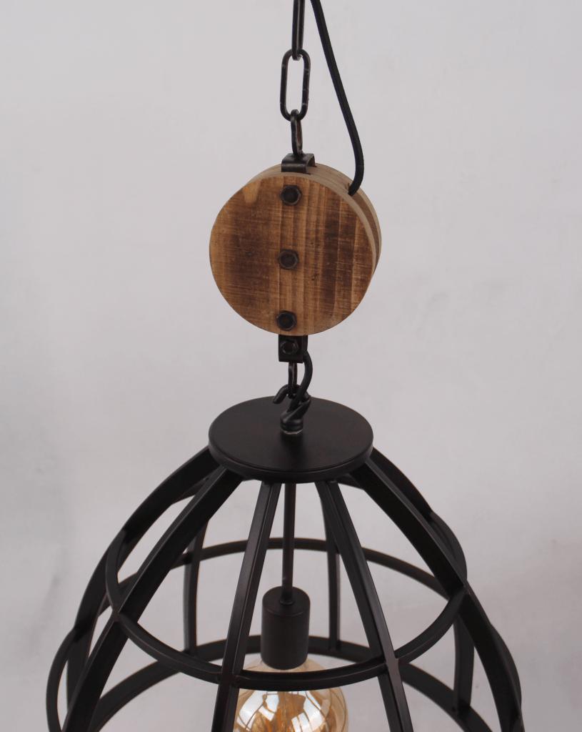 Aperto hanglamp - 1 lichts - 47 cm - zwart black steel met vintage wood