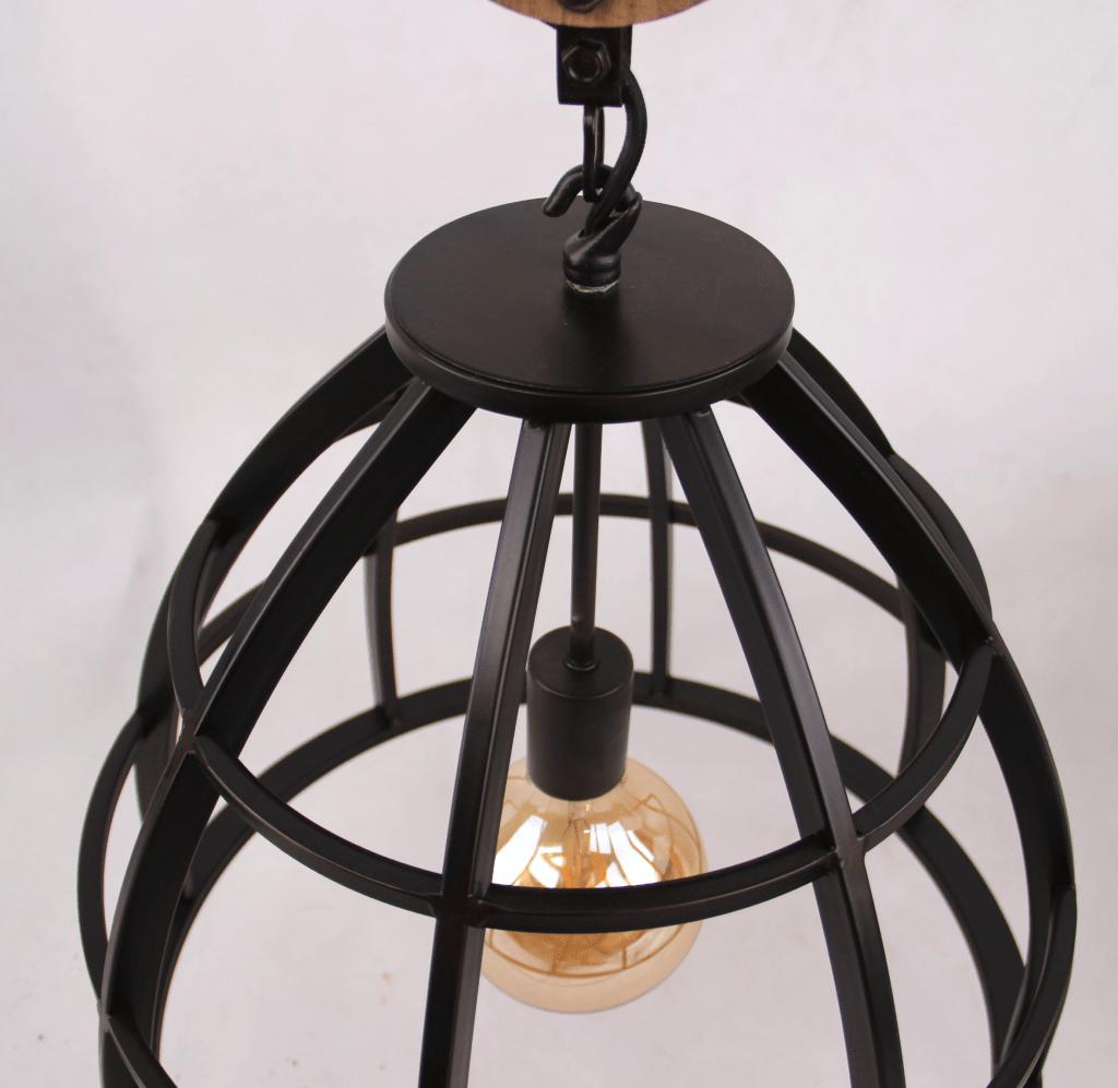 Aperto hanglamp - 1 lichts - 60 cm - zwart black steel met vintage wood