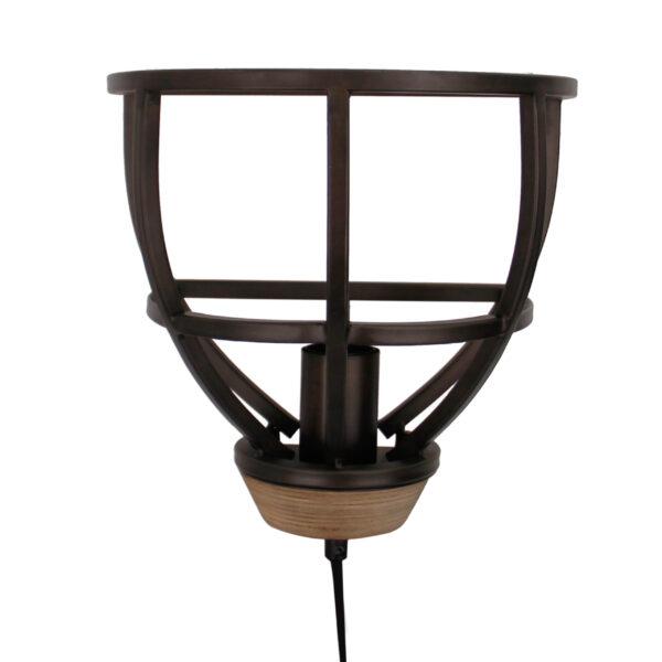 Aperto wandlamp - 25 cm - zwart black steel met vintage wood