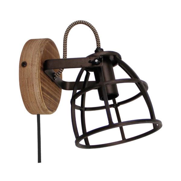 Aperto spot wandlamp - 11 cm - zwart black steel met vintage wood