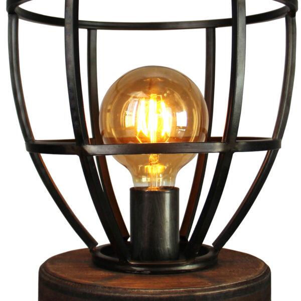 Aperto tafellamp - 25 cm - zwart black steel met vintage wood