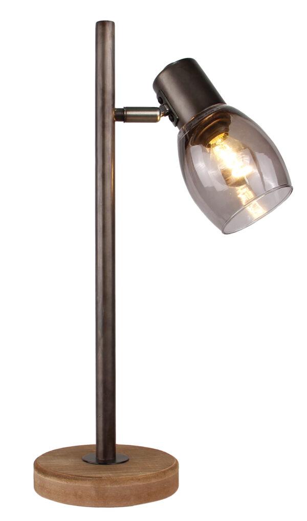 Sylvie tafellamp - 1 lichts - zwart black steel met vintage hout en smoke rookglas