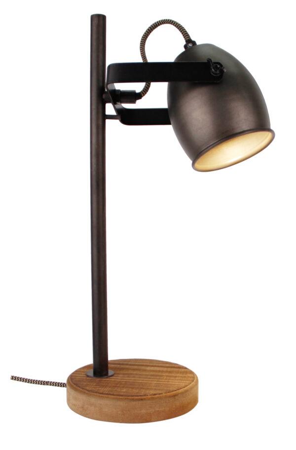 Dolce tafellamp - 1 lichts - zwart black steel met vintage hout