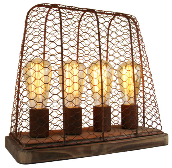 Quattro tafellamp - 4 lichts - roest met vintage wood