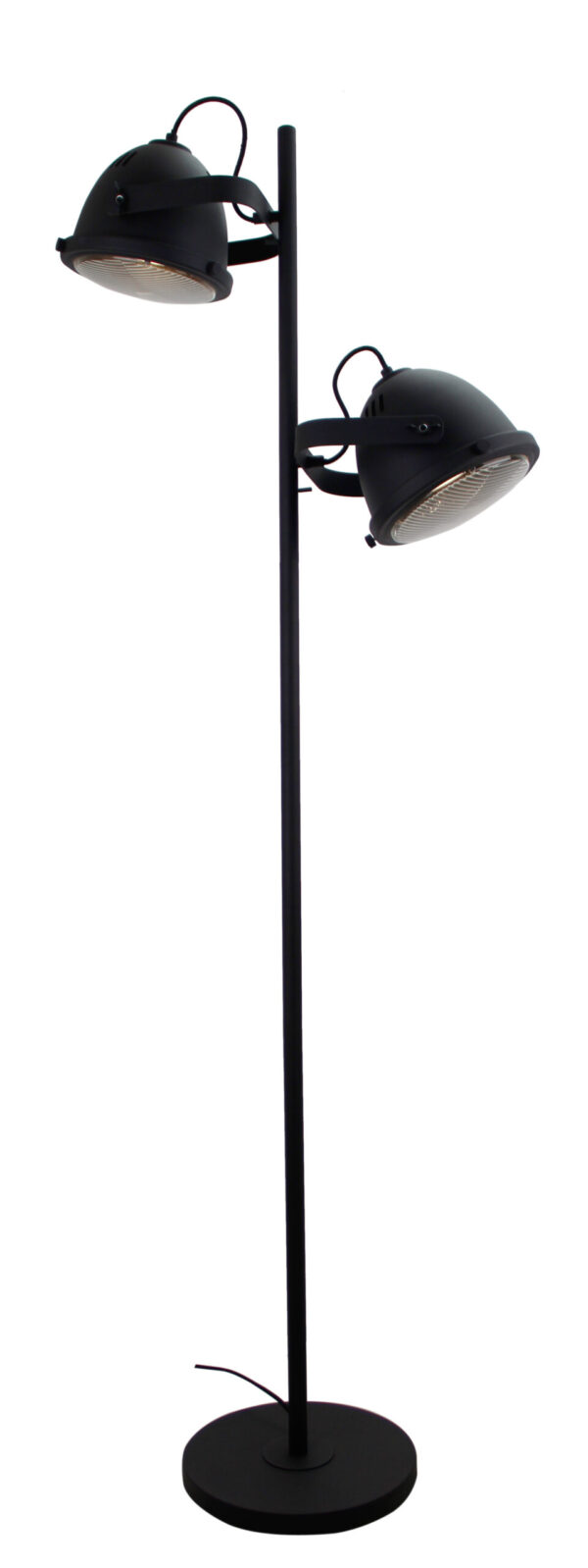 Nero staande lamp - 2 lichts - 20 cm - zwart met glas