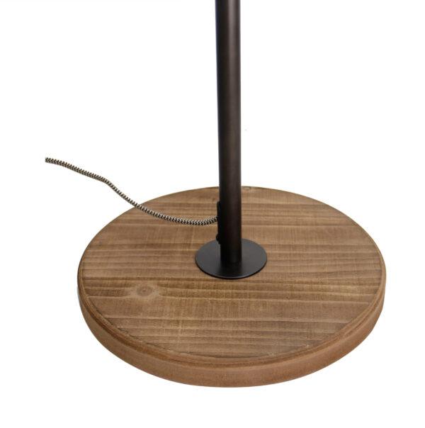 Bella staande lamp- 2 lichts - zwart black steel met vintage hout