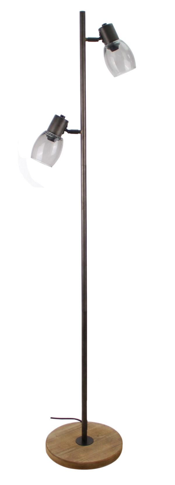Sylvie staande lamp - 2 lichts - zwart black steel met vintage hout en smoke rookglas