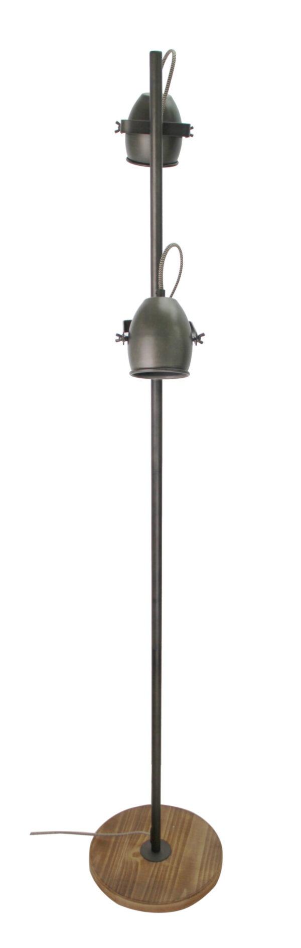 Dolce staande lamp - 2 lichts - zwart black steel met vintage hout