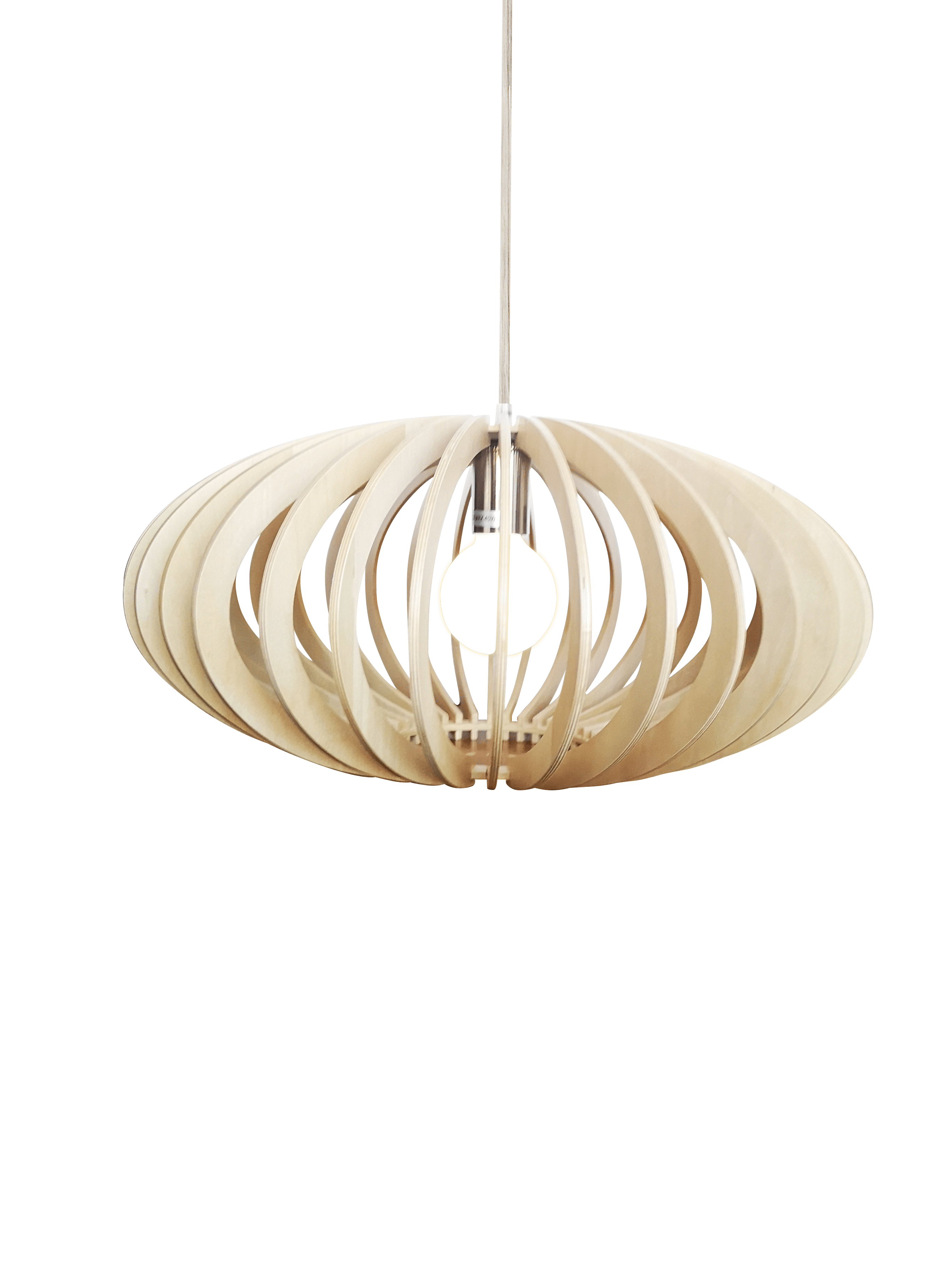 Curvato hanglamp - 48 cm - hout natuur